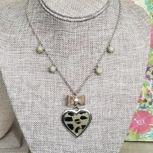Betsey Johnson Leopard Heart Necklace EUC